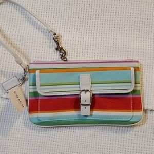 NWT Coach White and Blue Stripe Wristlet